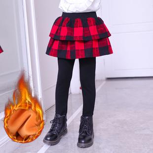 女童打底裤网红时髦秋冬裙裤2019新款加绒假两件裤裙洋气外穿裤子