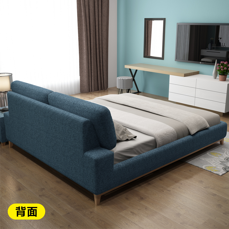 Fabric bed washable cloth bed bedroom modern minimalist double large-sized apartment 1.8 meters soft bed Nordic marriage bed