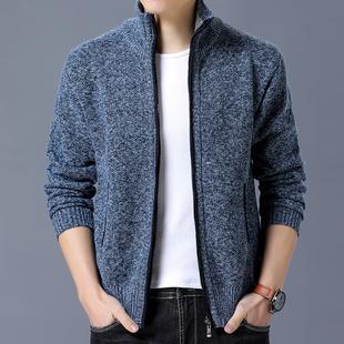 男装冬季新品韩版男士上衣立领加绒毛线衫加厚针织开衫毛衣外套33
