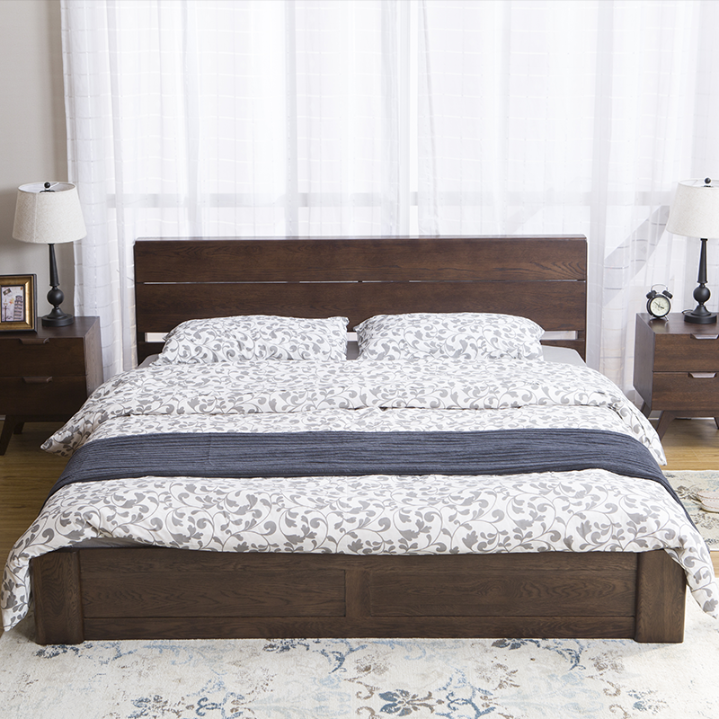 Nordic pure solid wood simplified box bed, white oak, all solid wood low box double bed, 1.5/1.8m bed bedroom furniture