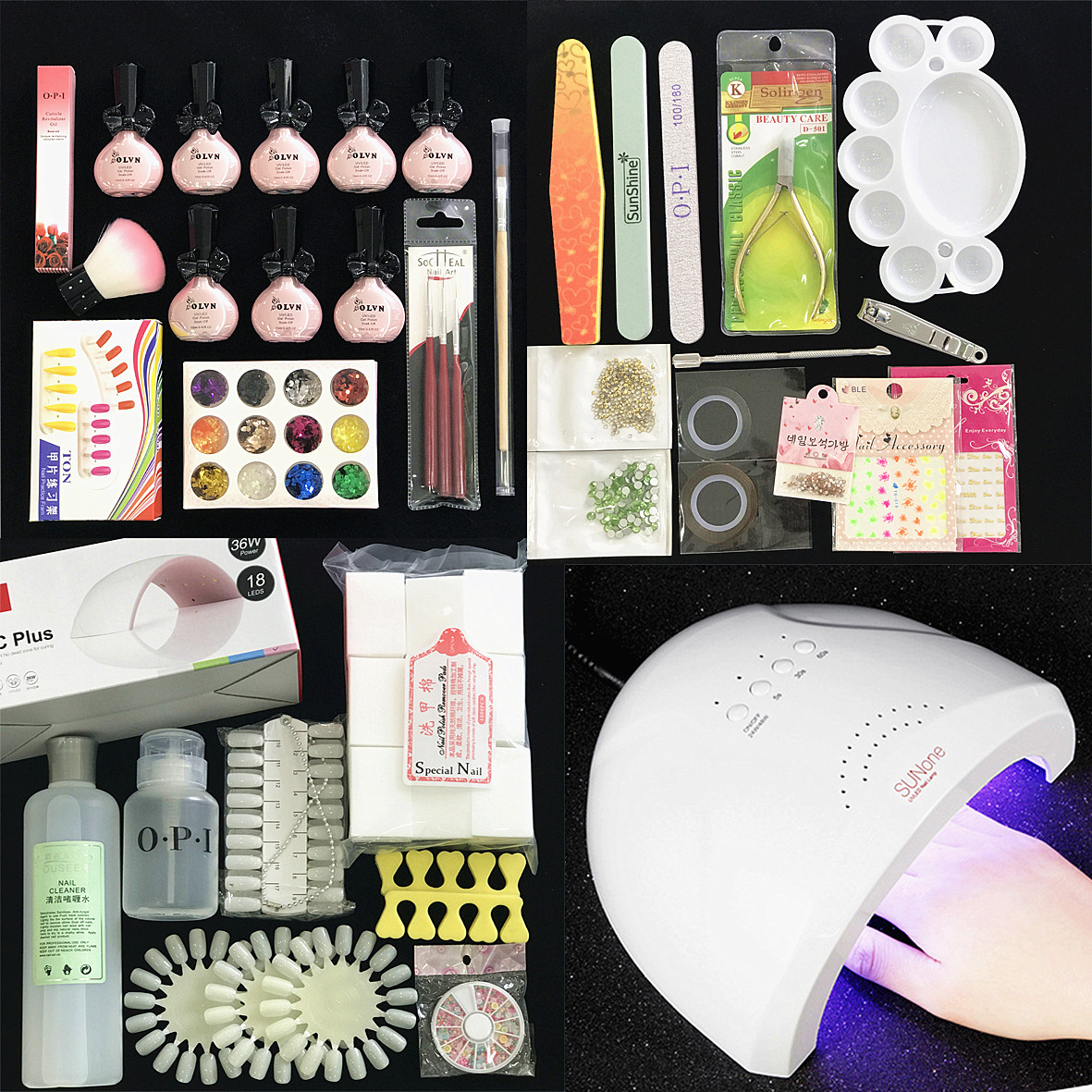 Lin Er Manicure activities online tutorial class Manicure beginners nail glue set phototherapy machine tool set set