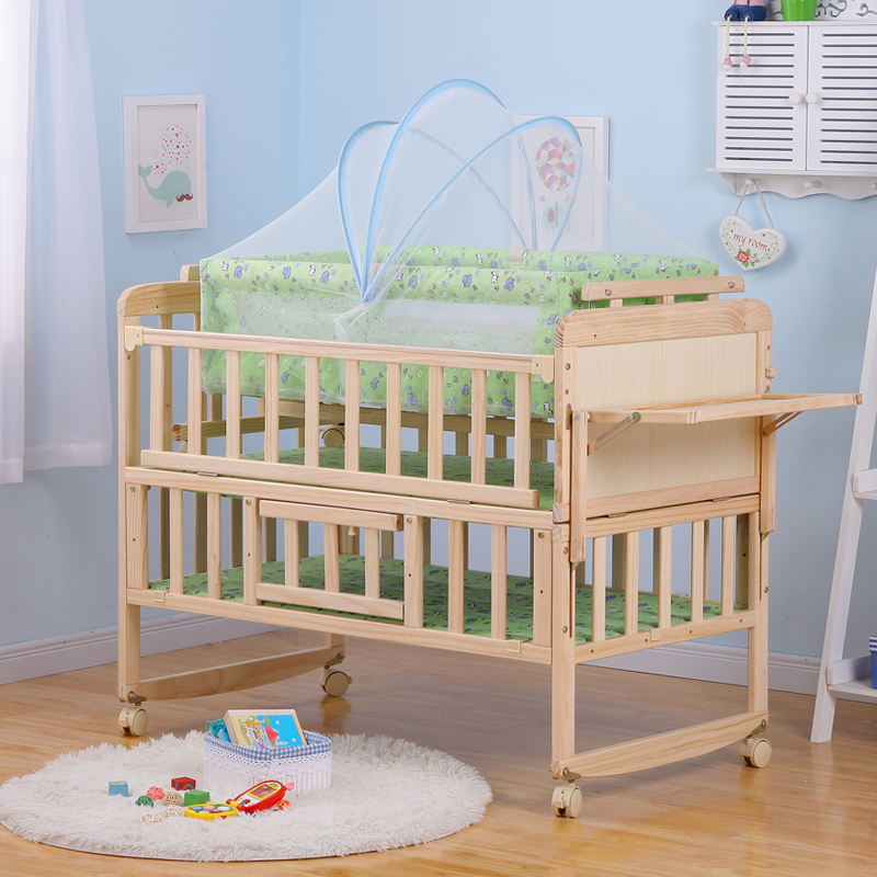 Crib, New Zealand import, solid cradle bed, BB bed, crib, cradle, mosquito net with parallel cradle