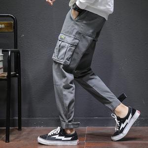 祖玛珑工装裤男潮牌运动休闲男裤子韩版潮流哈伦束脚裤宽松休闲裤