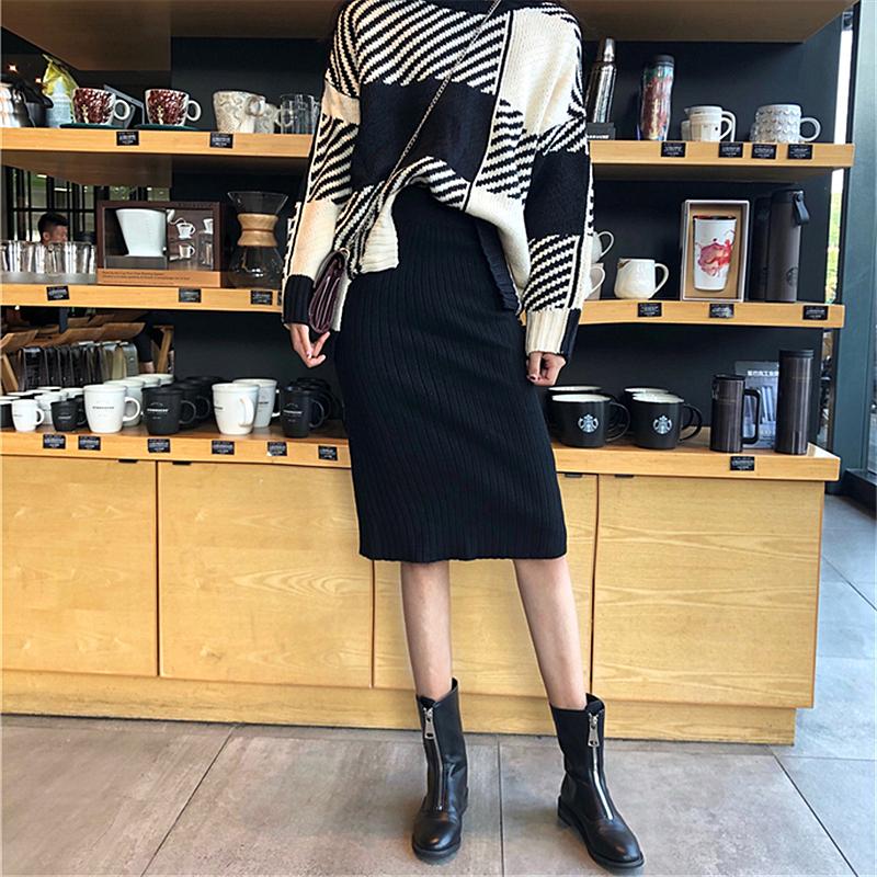 半身裙女秋鼕韓版bf高腰百搭顯瘦開叉針織彈力包臀裙中長裙一步裙