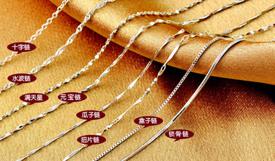 925 Sterling Silver Necklace Chain chain chain Yuan Baolian water melon clavicle Mantianxing chain female models