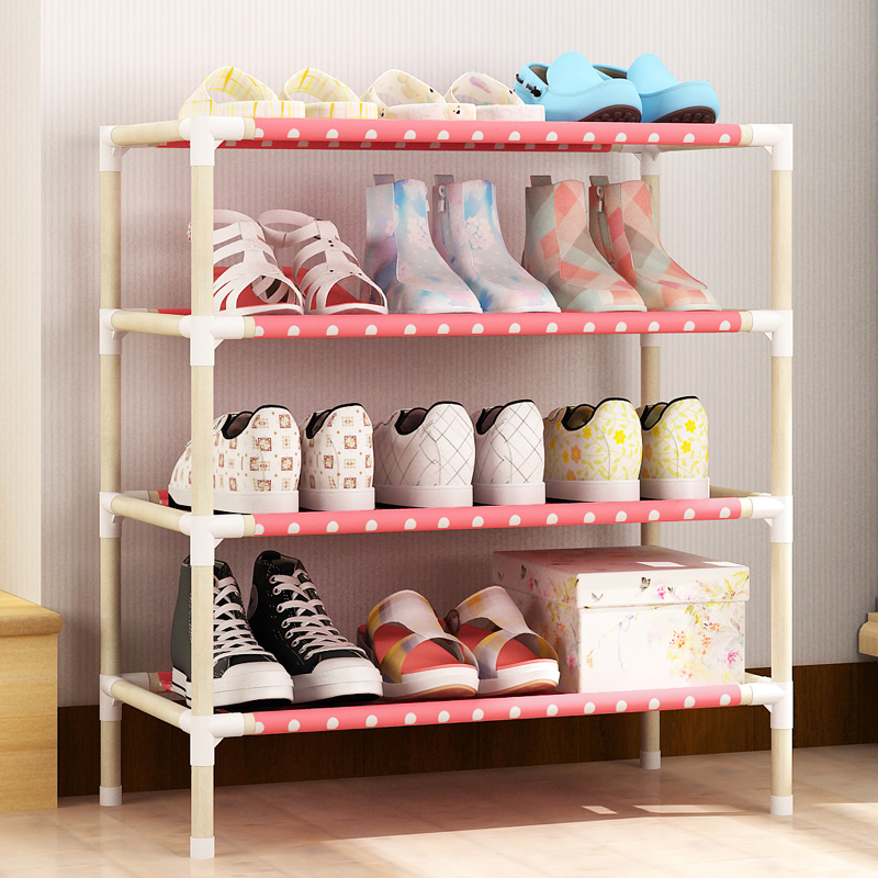 A simple wooden shoe rack assembly of multilayer wood single row storage cloth shoe economy