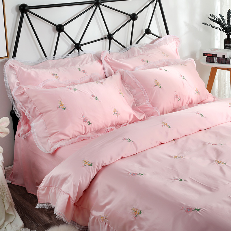 [to] silk fabric silk cotton ins wind four piece Korean lace embroidery bedding 1.8 meters