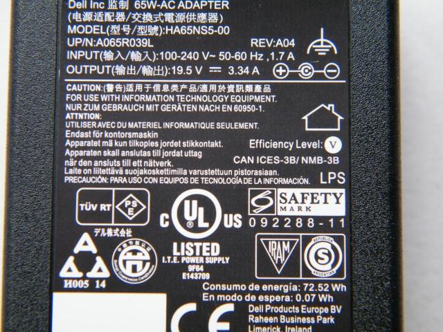 оригинальные dellHA65NS5-00 адаптер питания компьютеров Dell зарядное устройство 19.5V3.34A рот