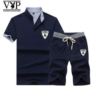 花花公子贵宾夏季休闲套装男新款青年韩版修身短袖短裤两件套上衣