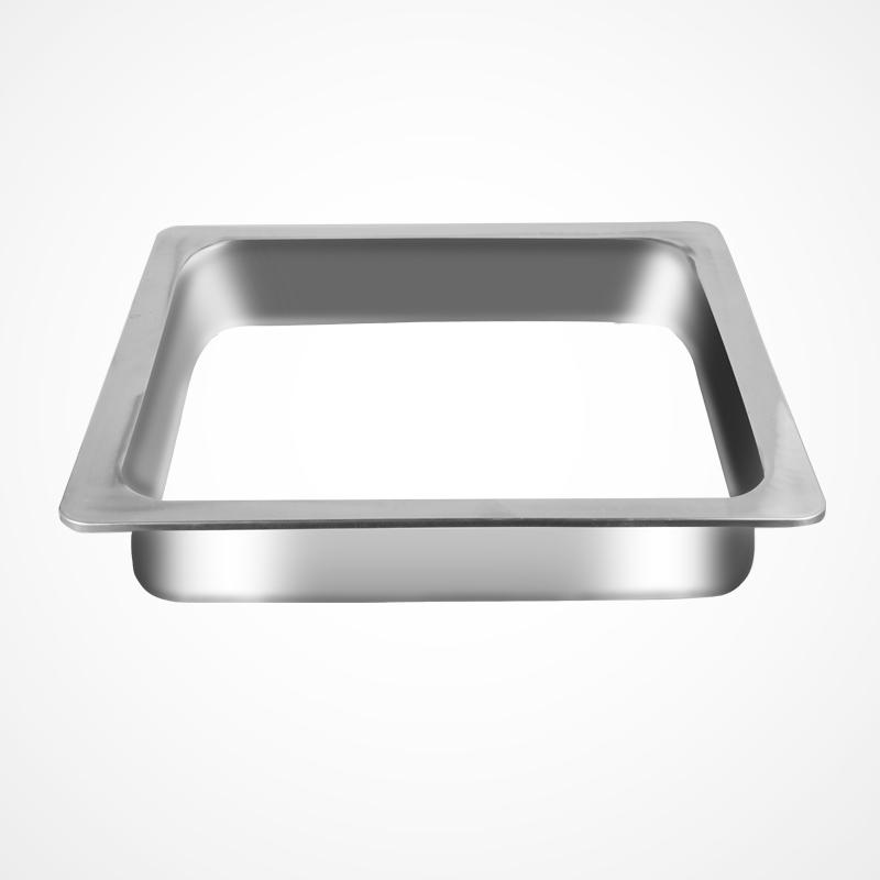 spuść tonie. - piec stalowy pierścień wbudowanych do placu okrągłe naczynie stołowe koło sklepu, ze stali nierdzewnej