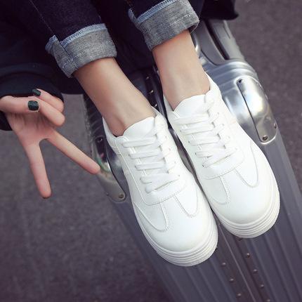07春季厚底小白鞋女韩版系带休闲鞋女纯色皮面松糕鞋女鞋