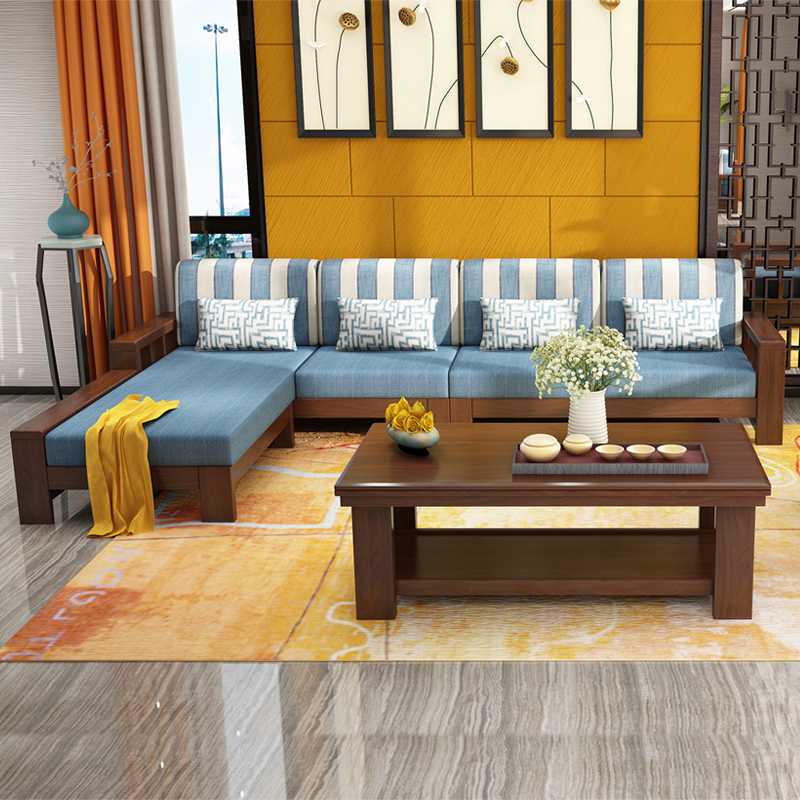 Solid wood sofa corner sofa, modern Chinese living room furniture combination, rubber wood, solid wood fabric sofa