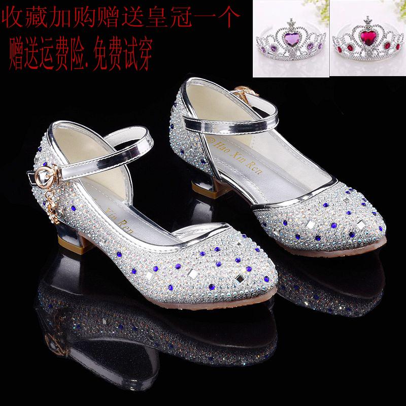 女童凉鞋2017新款夏季公主高跟鞋中大童儿童韩版包头灰姑娘水晶鞋