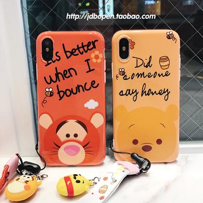 苹果8可爱卡通iphonex情侣手机壳6s/7plus新款小熊维尼保护套