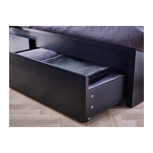 Echte nini Ikea - Bett im Malm Hoch MIT zwei Kiste, Schwarz - Braun