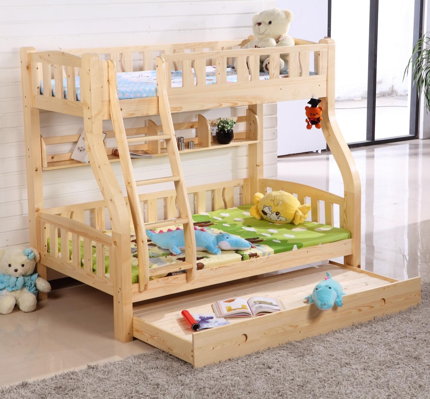Nordic Финляндии сосны двухэтажный детская кровать с хранения один двухместный высота ограждения на кровати Кровать кластера под бревна