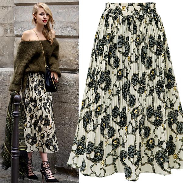 7221#速卖通Ebay欧美风 碎花雪纺压折半身裙中长款印花大摆裙