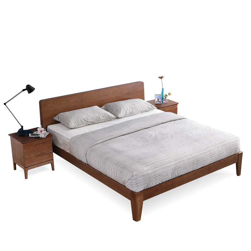 The whole wood bed of 1.8 meters of imported Japanese Ash Double Zhuwo marriage bed Tula manufacturers more than a single clearance
