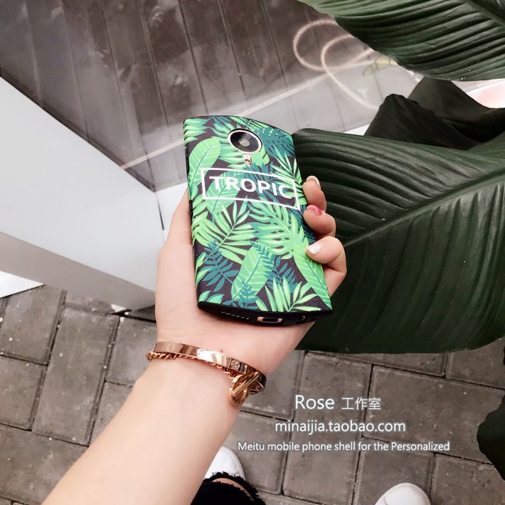 Cool summer green leaves us letter figure M8/T8s M6/V4/M4 soft silicone shell shell mobile phone lanyard package