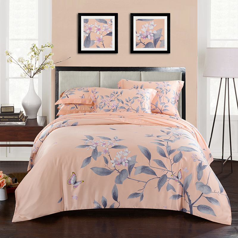 Double-sided pure Tencel four piece 3D flowers in spring and summer activity printing 1.8m bedding simple 2.0m bedding