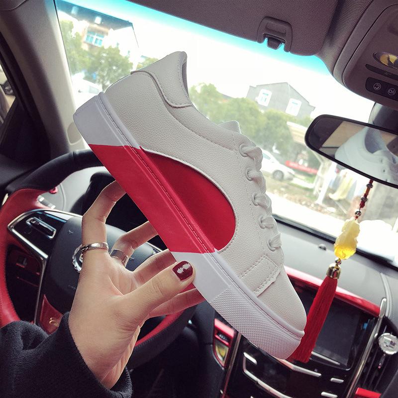 2018春季新款单鞋鞋韩版时尚学生圆头中跟爆款爱心小白鞋55