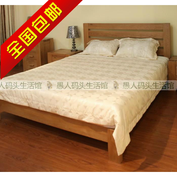 [fool wharf] Europe selling all solid wood furniture, white oak single bed double bed 1.5 meters SK-ZDRC