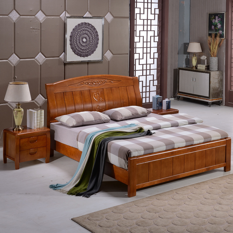 Eleven Chinese oak wood bed double bed height box storage bed 1.8 meters 1.5 meters double bed bed