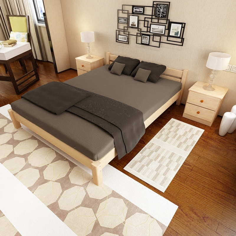Simple double bed single bed pine wood rental room 1.21.51.8 meters tatami bed bed