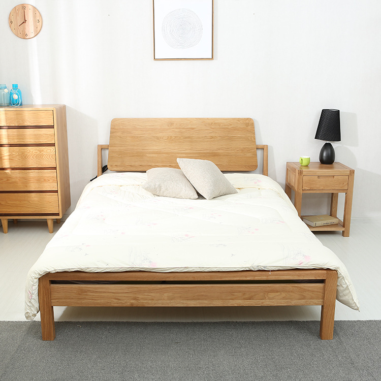 Simple white oak wood bed double bed socket 1.5 Nordic m 1.8 bedroom bed post installation package