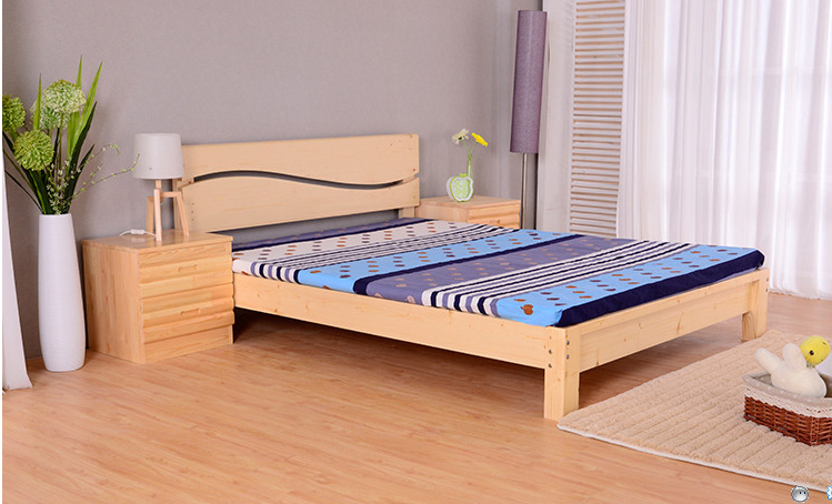 Shipping of pure solid wood bed single bed double bed bed bed young adult children loose bed of 0.8 meters -1.8 meters