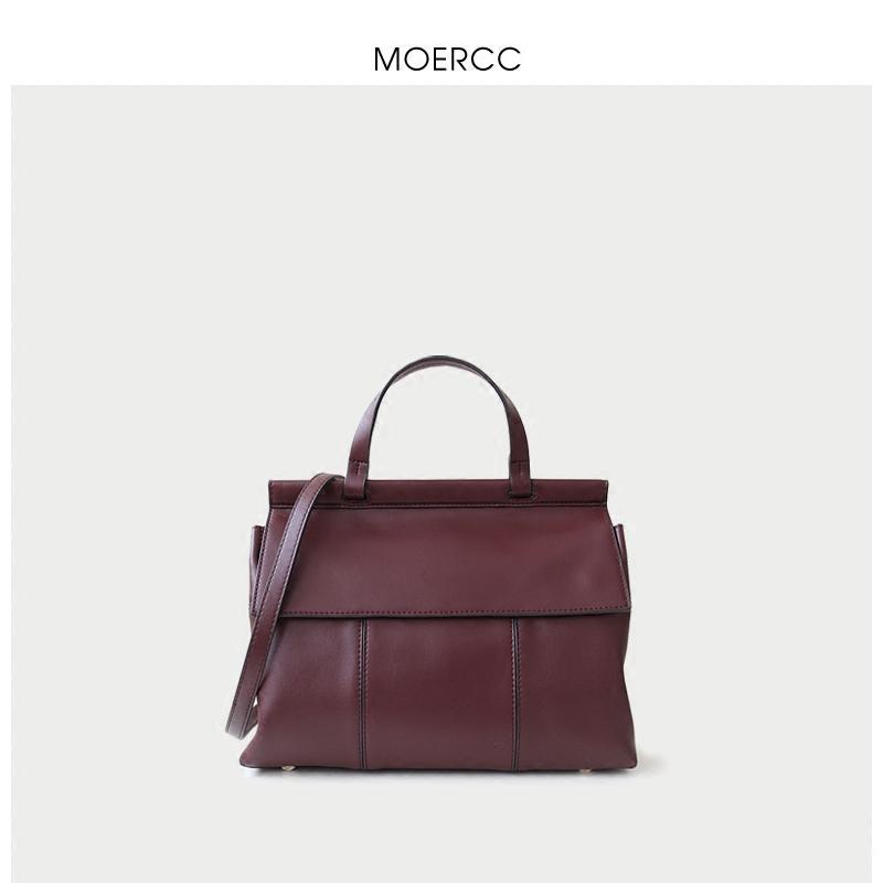 黑色moercc韓版簡約大包包時尚女包休閑單肩包牛皮大容量通勤手提包