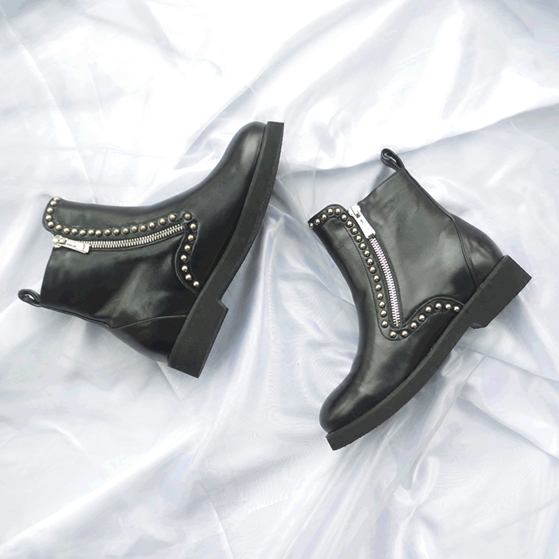 Europe leather boots female round thick bottom rivet iron zipper waterproof boots and all-match muffin bottom single boot