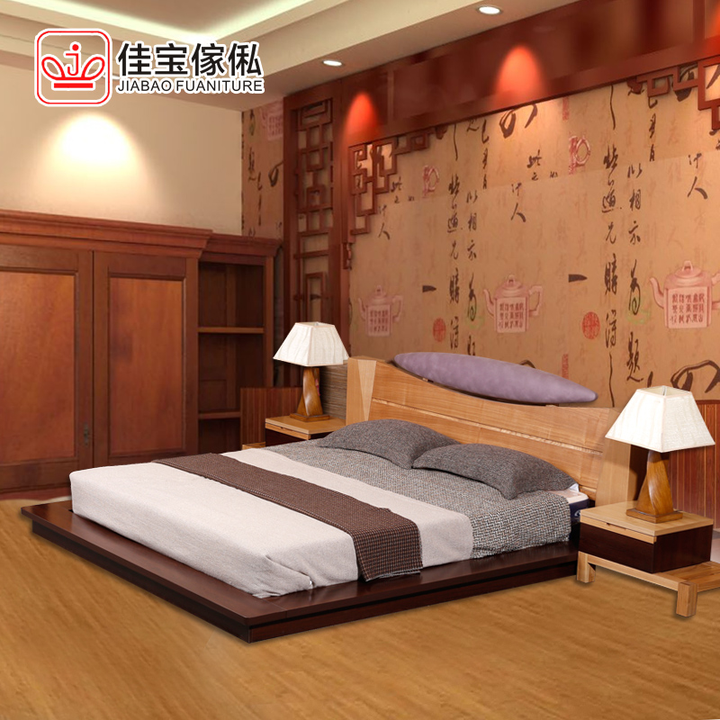 All solid wood bed tatami bed 1.51.8 m double wedding bed ashtree Chinese minimalist modern furniture