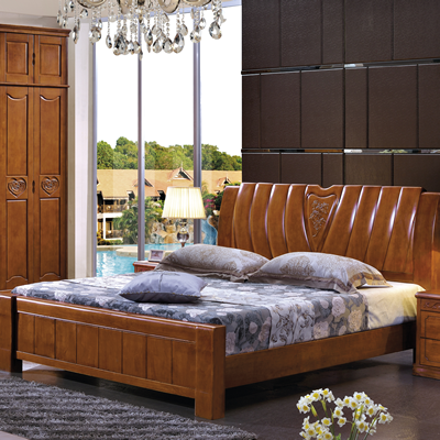 Wuhu Ma'anshan Thailand imported oak beds, all solid wood bed double bed, 1.8 meter wedding bed, Chinese economy type bed