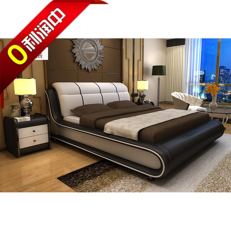 Leather wood tatami bed soft cloth bed modern minimalist large-sized apartment 1.8 meters double bedroom style