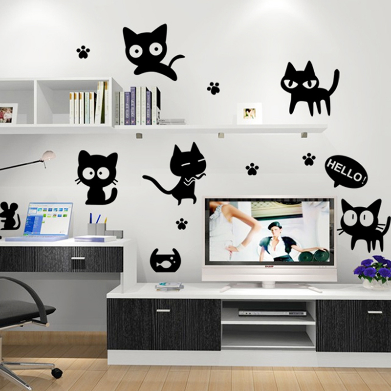 Cartoon cat wall stickers Living room kitchen bathroom hallway stickers Creative computer decoration small stickers