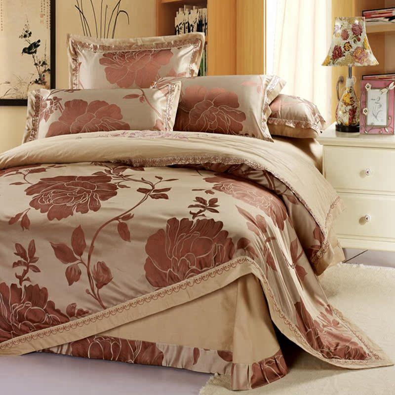 Imitation silk fashion jacquard pink sheet type four sets of 1.5/1.8/2 meters bedding