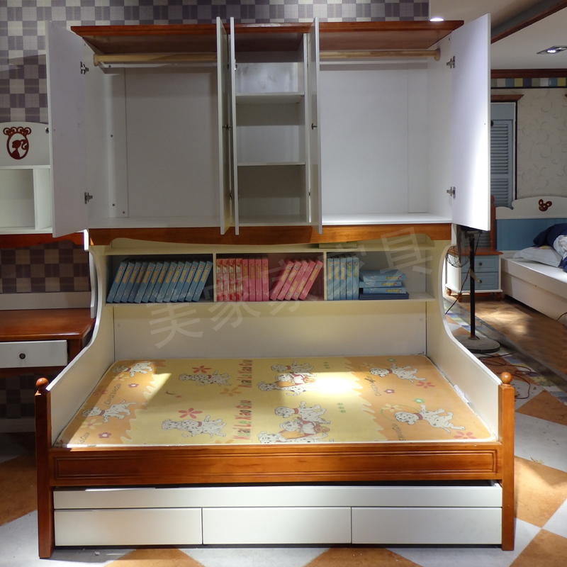 Double Mediterranean children wardrobe bed boys and girls multifunctional level Chuangzi mother bed solid wood bed Korean shipping