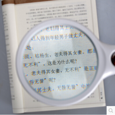 Handheld magnifying mirror with LED light 10 times 100mm big lens 30 times secondary mirror 20 times reading newspaper