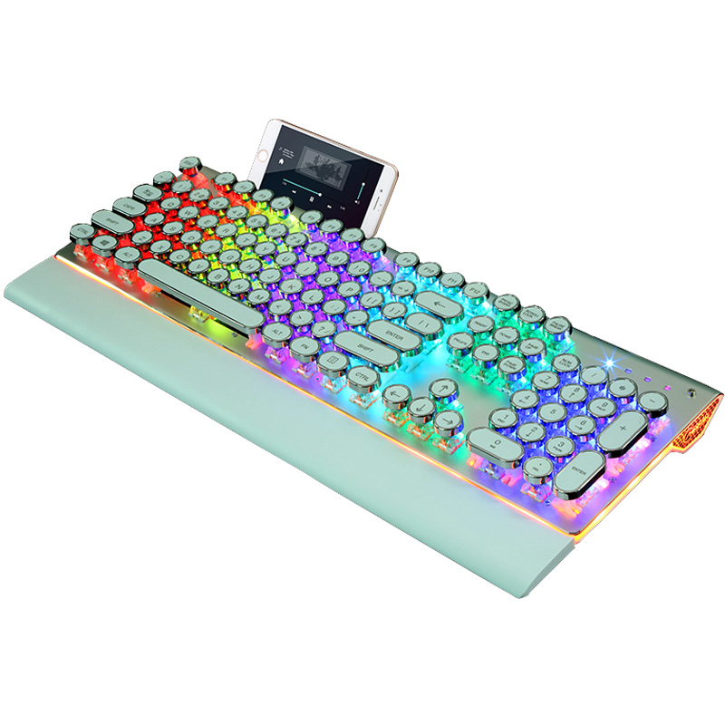 Die hintergrundbeleuchtung Spiel - retro - steampunk mechanische tastatur und Maus 104 runden Hut mit der schreibmaschine die Hand.