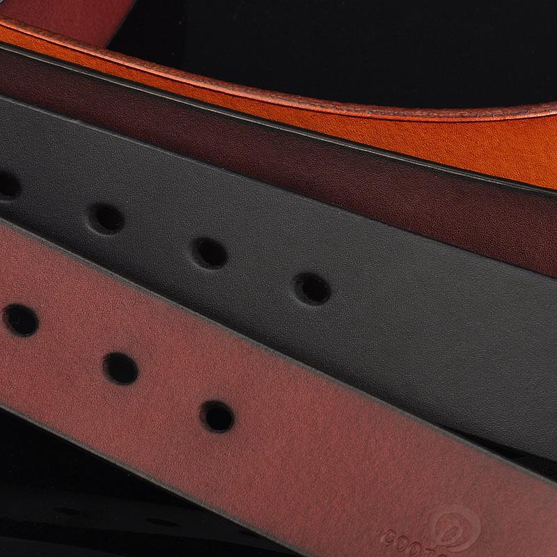 ベルト条無頭真皮牛皮全紙牛皮を身バックルベルトメンズカジュアル針3.7cm無バックルベルト