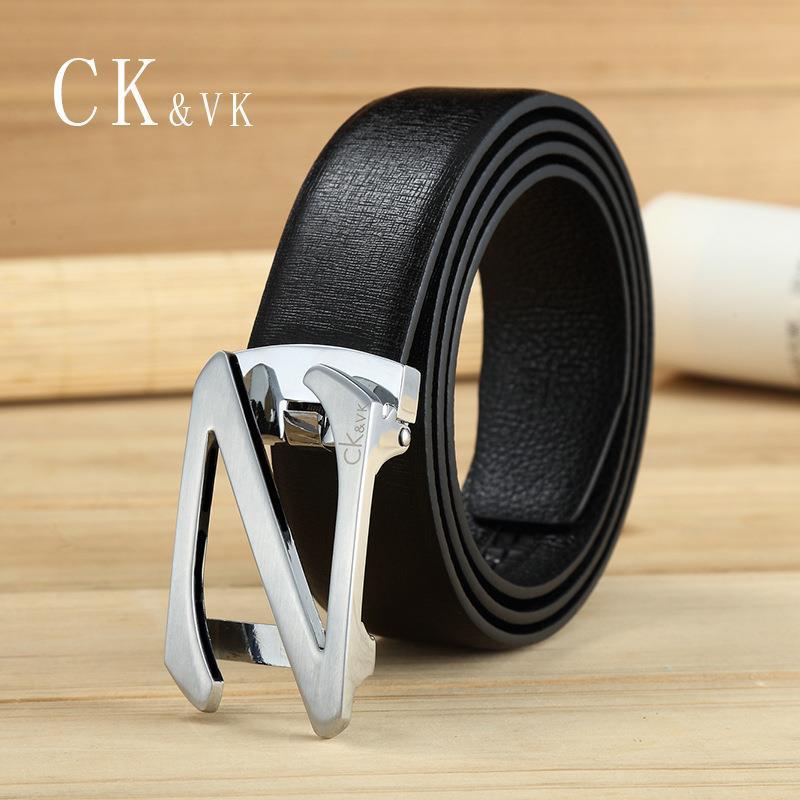 Cinturón de hebilla de cinturón de cuero CK&vk automático de los hombres de negocios, pantalones de cuero de vaca (cinturón de caja