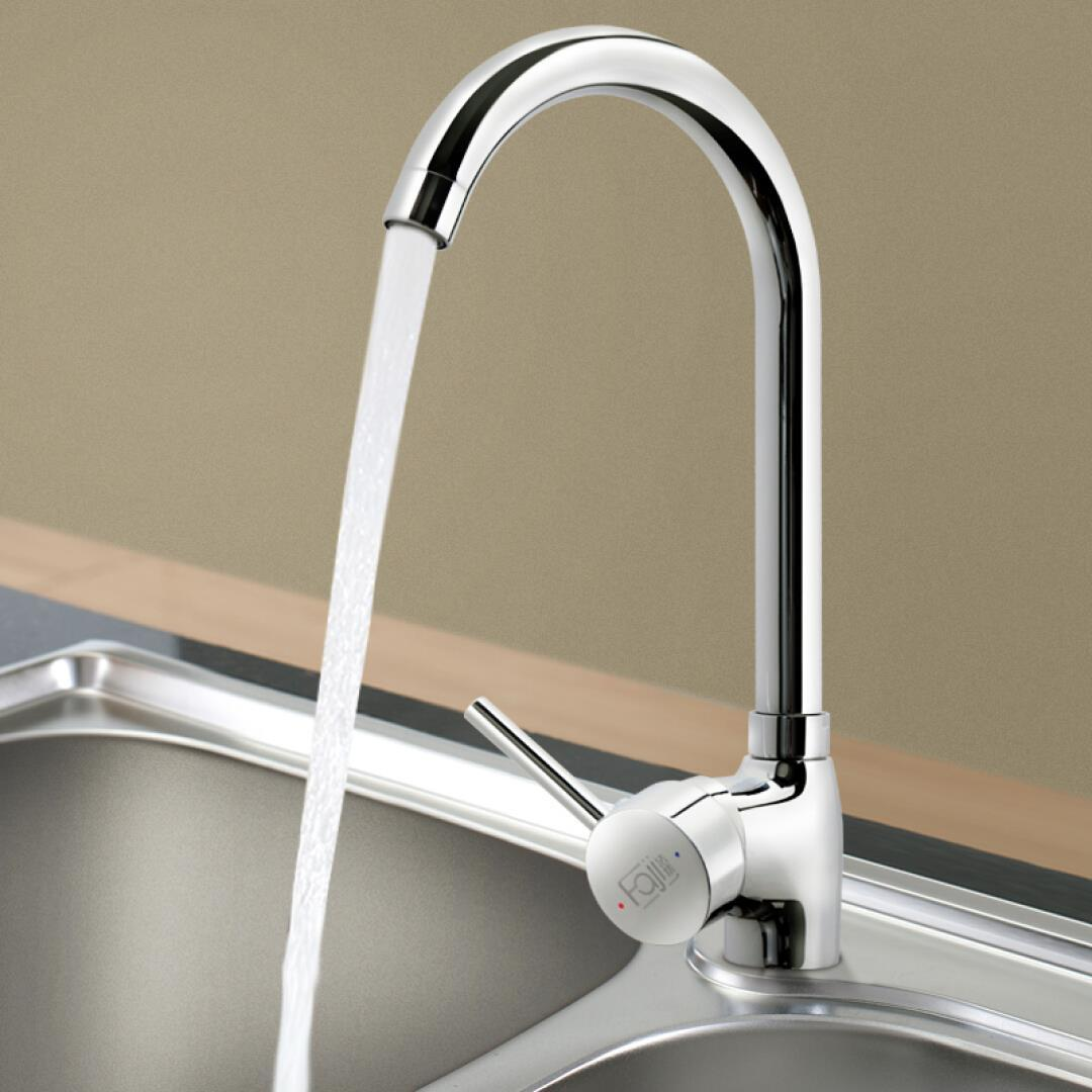 FaJi (law set) HB5122-S single hot and cold kitchen faucet, ceramic spool, rotary water