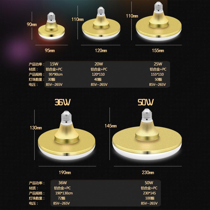 LED bóng đèn điện lớn siêu sáng không thấm nước E27 ốc miệng đèn tiết kiệm năng lượng đĩa bay, nhà xưởng nhà máy đèn đơn