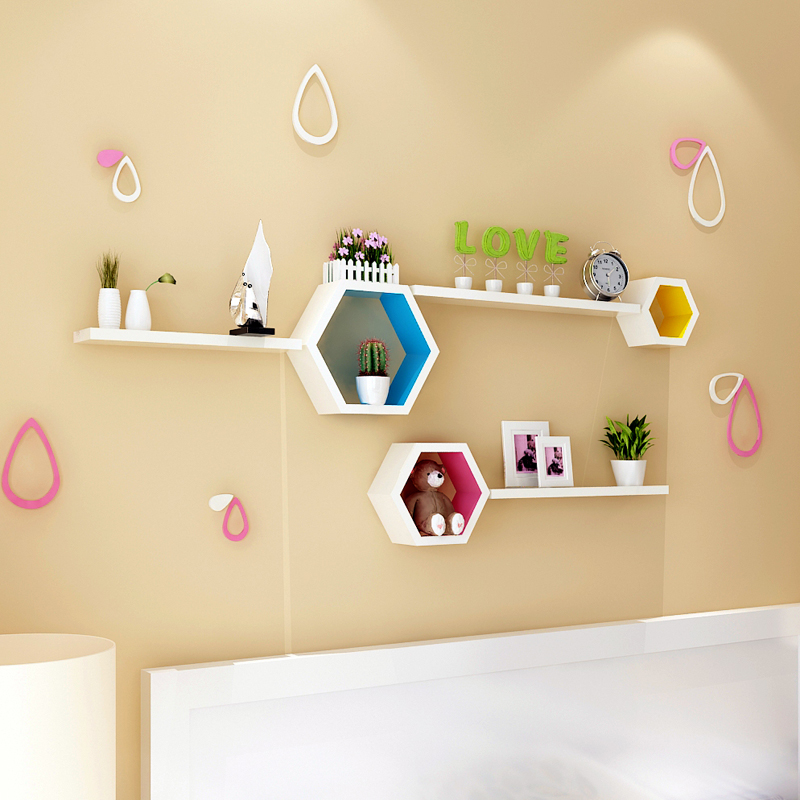 Simple wall rack shelf on the wall for children study the living room cabinet Shelf Bookcase wooden lattice creative frame