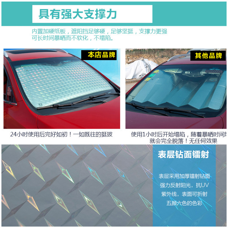 Car front windshield shading, car inside car sucker, reflective pad, sun shield heat insulation foil, sun block