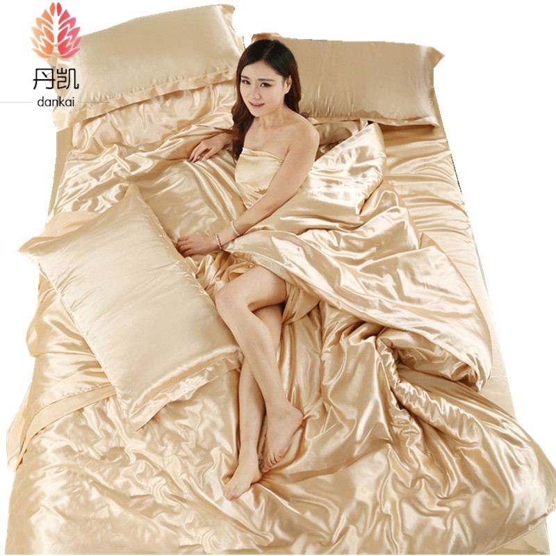 Four sets of silk fabric in spring and summer bedding skin four piece silk quilt pure Tencel bed sheets