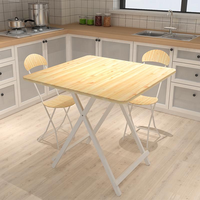 Table pliable de bois simple de petite taille de la table carrée de manger du Quatuor pin domestique 4