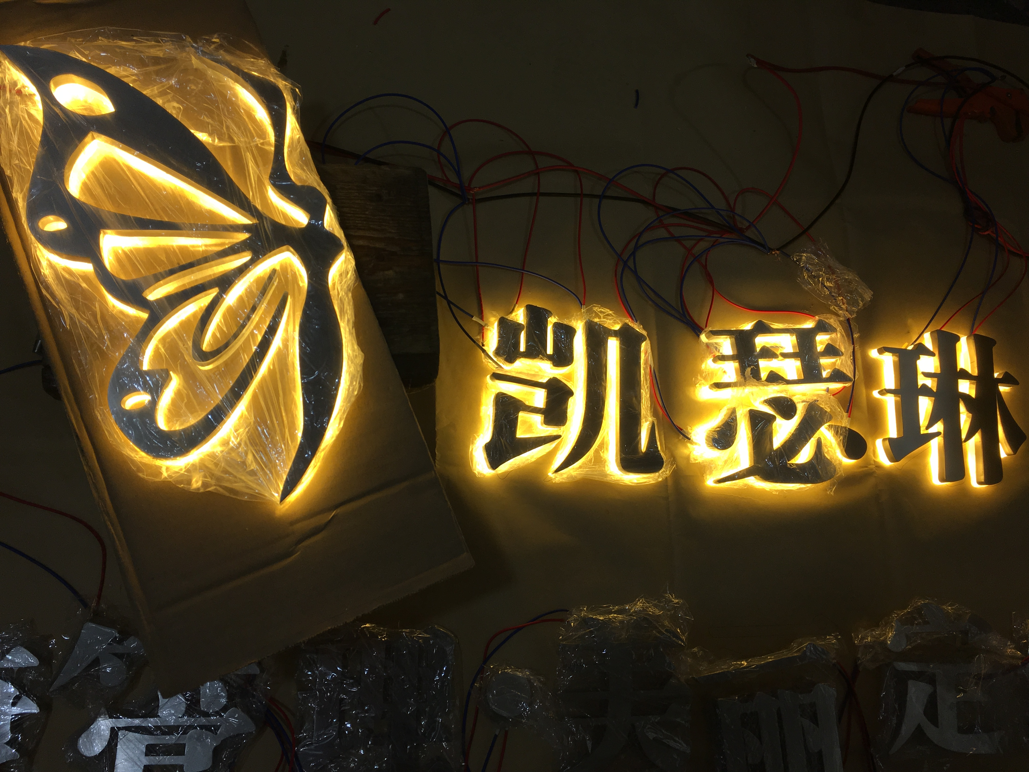 Custom Seiko stainless steel back light mirror drawing fine words bright surface fabrication and installation of commercial sign