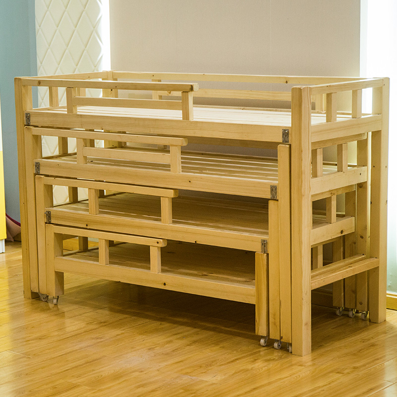 A special bed for kindergarten pupils managed class nap bed push broaching machine combination folding multi-layer solid wood bed for children